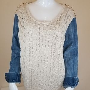 Chelsea & Violet Studded Mixed Media Sweater